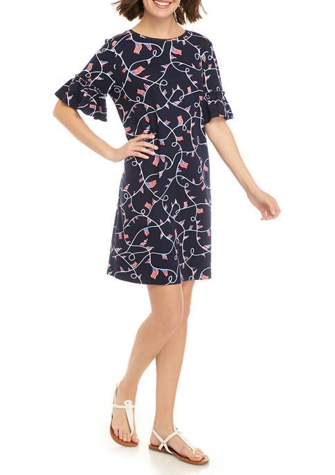 Kim Rogers® Womens Elbow Sleeve Printed Dress