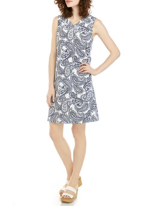 Kim Rogers® Womens Sleeveless V Neck Printed Dress