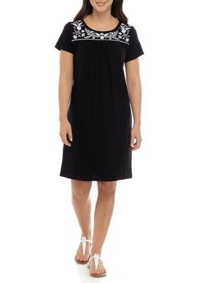 Kim Rogers Womens Short Sleeve Embroidered Yoke Dress