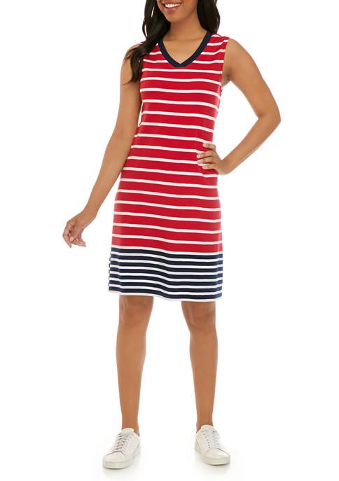 Kim Rogers Women's Sleeveless V-Neck Printed Dress