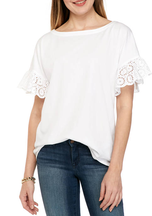 Kim Rogers® Womens Bell Sleeve Eyelet Top