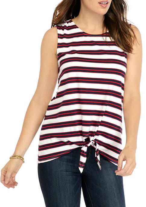 Kim Rogers® Womens Sleeveless Tie Front Yarn Dye