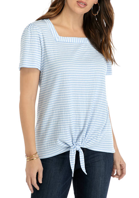 Kim Rogers® Womens Short Sleeve Square Neck Textured