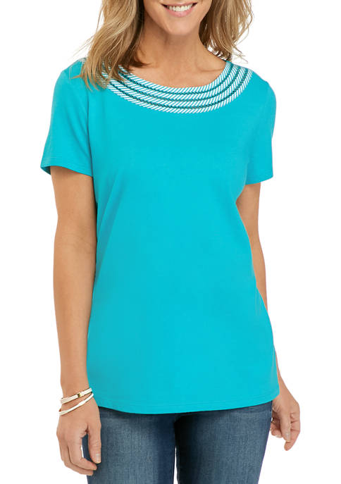 Kim Rogers® Womens Woven Trim T-Shirt