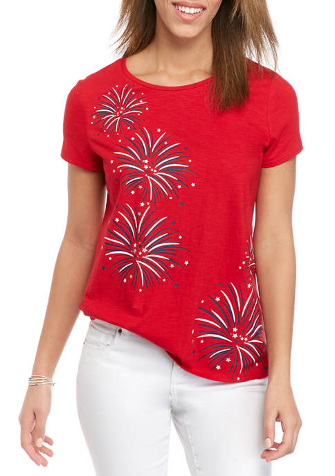 Kim Rogers® Womens Short Sleeve Embroidered Art Graphic