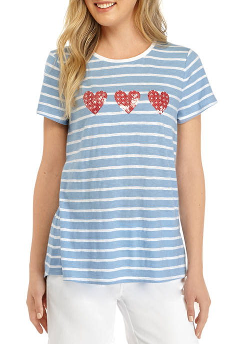 Kim Rogers® Womens Short Sleeve Embroidered Art T-Shirt