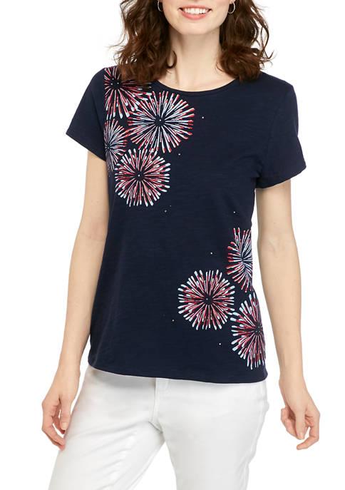 Kim Rogers® Womens Short Sleeve Embellished Art T-Shirt
