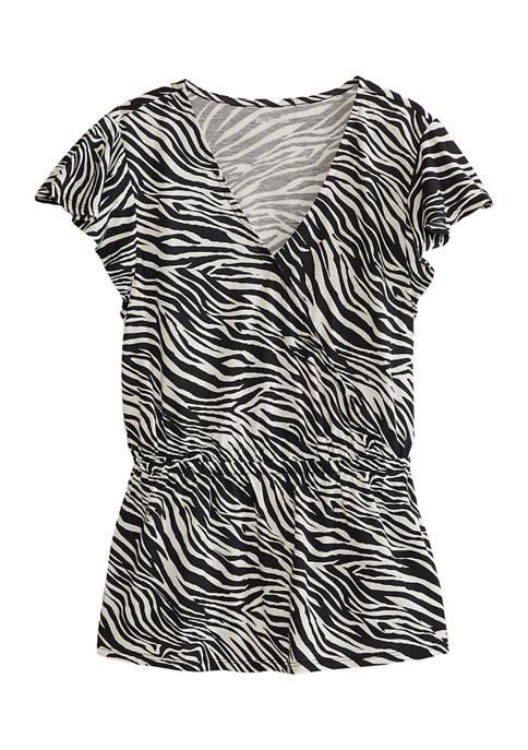 Kim Rogers® Womens Short Sleeve Printed Wrap Top
