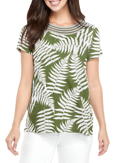 Kim Rogers® Womens Short Sleeve Woven Trim Printed