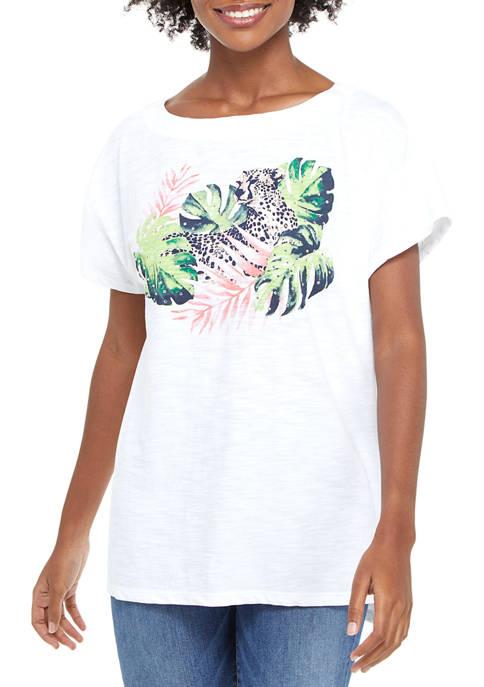Kim Rogers® Womens Drop Shoulder Art Graphic T-Shirt