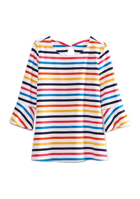 Womens 3/4 Bell Sleeve Multi Stripe Top