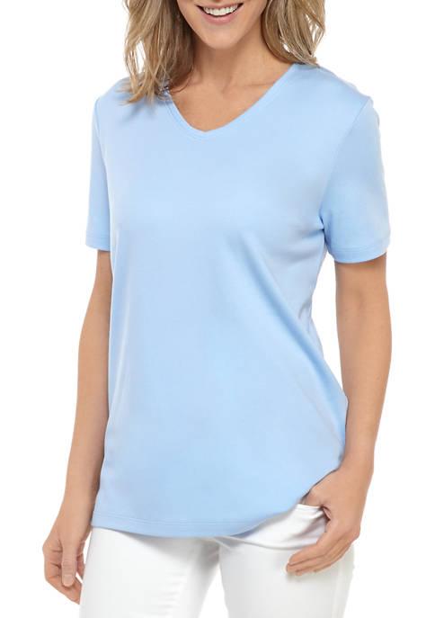 Womens Short Sleeve V Neck T-Shirt