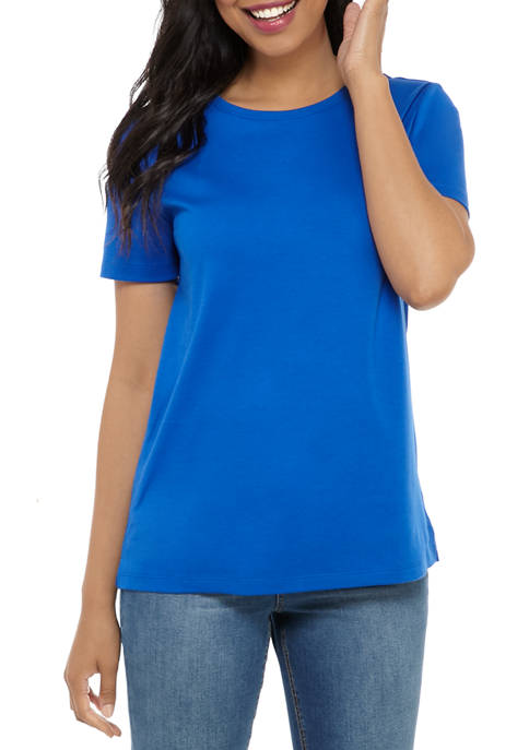 Kim Rogers® Womens Perfectly Soft Short Sleeve Crew
