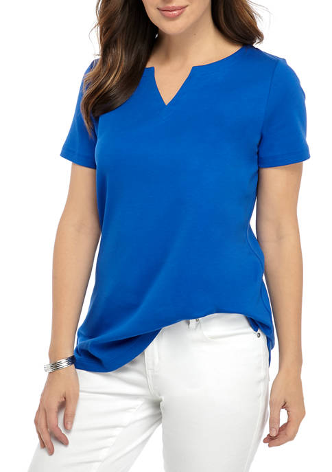 Womens Perfectly Soft Short Sleeve Split Neck T-Shirt