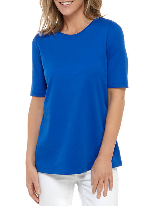 Womens Perfectly Soft Elbow Sleeve Crew Neck T-Shirt