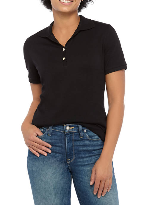 Womens Perfectly Soft Short Sleeve Polo Shirt