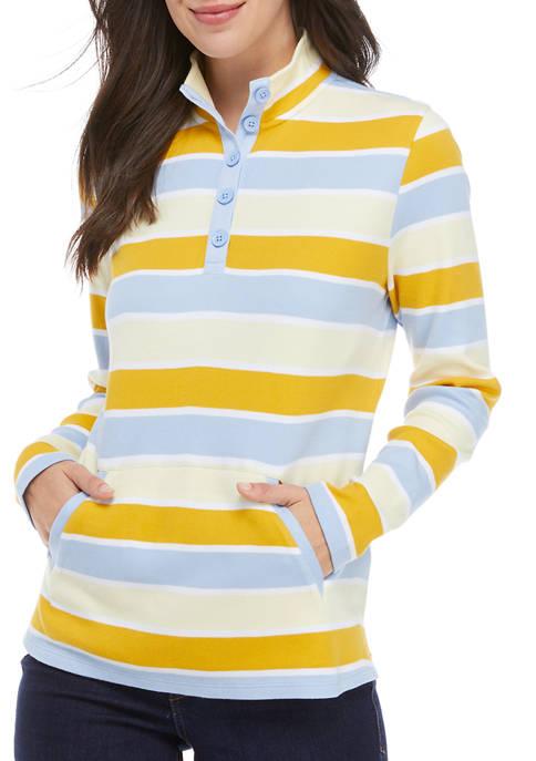 Kim Rogers® Womens Long Sleeve Mock Neck Striped