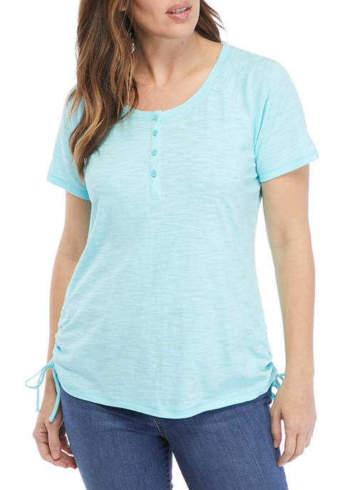 Kim Rogers® Womens Short Raglan Sleeve Henley Cotton