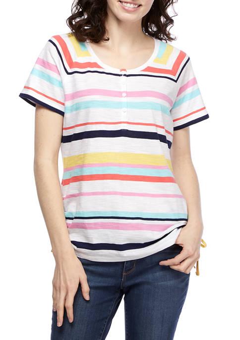 Kim Rogers® Womens Short Raglan Sleeve Henley Striped