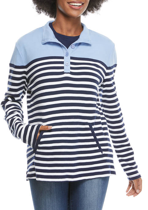 Kim Rogers® Womens Long Sleeve Pocket Printed Pullover