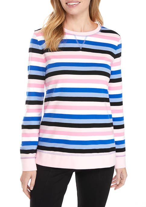 Kim Rogers® Womens Long Sleeve Yarn Dyed Striped