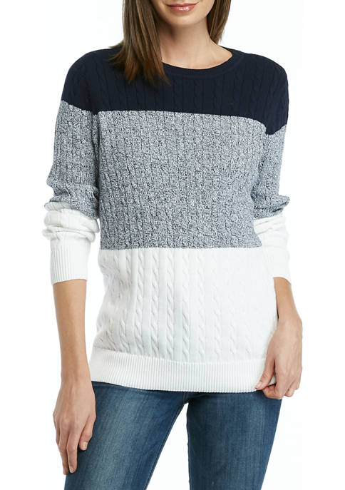 Kim Rogers® Womens Long Sleeve Color Block Cable