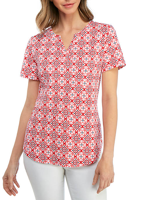 Kim Rogers® Short Sleeve Split Neck Printed Top