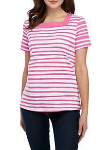 Kim Rogers® Short Sleeve Square Neck Stripe Top