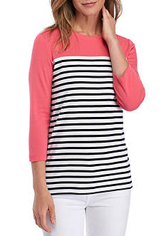 Kim Rogers® 3/4 Sleeve Rib Colorblock Sandy Stripe Top