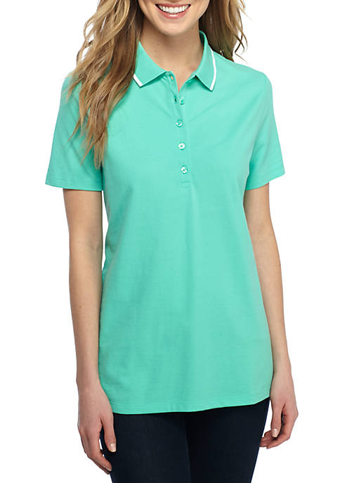 Solid Polo Shirt with Piping