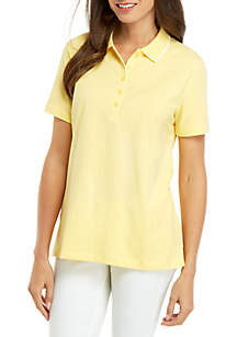 Kim Rogers® Solid Polo Shirt with Piping
