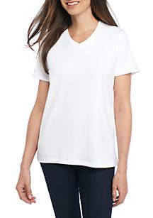 a71a92e0737 ... Kim Rogers® Short Sleeve V Neck Fashion Top