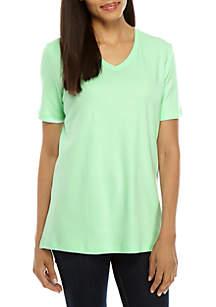 ed46ad6ab2429 ... Kim Rogers® Short Sleeve V Neck Fashion Top