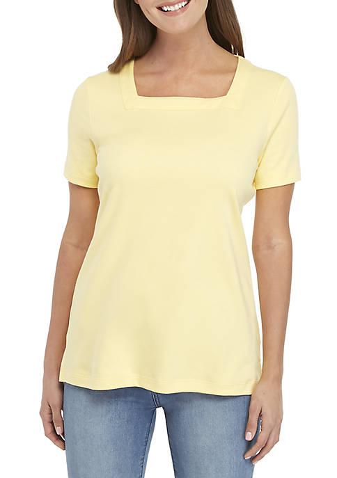 Kim Rogers® Short Sleeve Square Neck Top