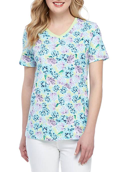 Kim Rogers® Short Sleeve V Neck Hydrangea Cluster