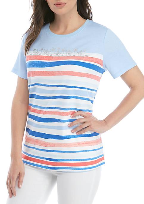 Kim Rogers® Short Sleeve Stripe T Shirt