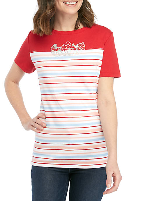 Kim Rogers® Short Sleeve Color Block Shell T