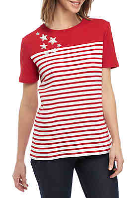 3206b04d6 Kim Rogers® Short Sleeve Colorblock Stripe Tee ...