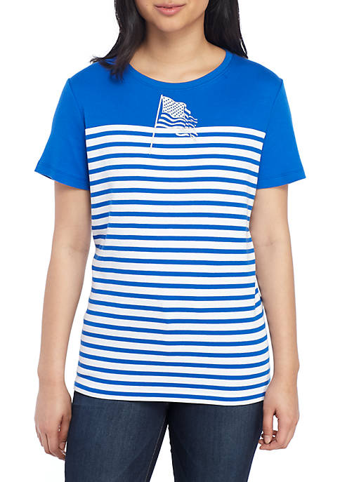 Womens Short Sleeve Color Block Flag T-Shirt