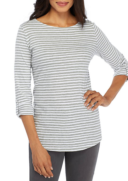 Stripe Roll-Sleeve Knit Top