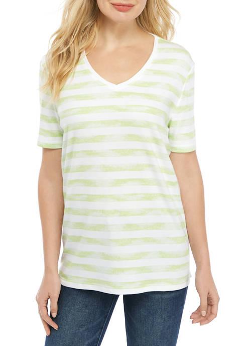 Kim Rogers® Womens Short Sleeve Stripe T-Shirt