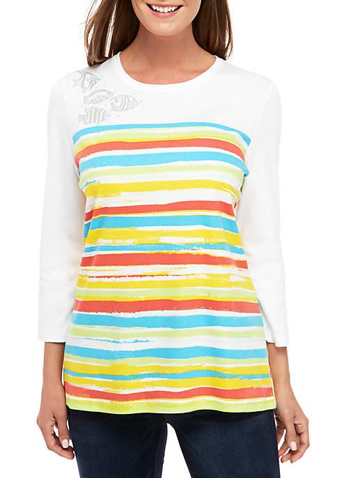 Kim Rogers® 3/4 Sleeve Fish T Shirt