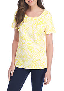 Short Sleeve Paisley Print Tee Shirt