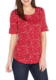 Star Print Elbow Cuff Sleeve Shirt