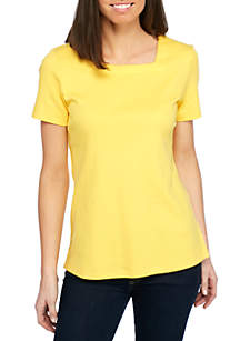 Short Sleeve Solid Square Neck Top