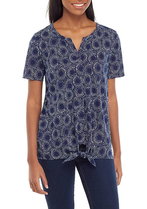 Kim Rogers® Short Sleeve Tie Front Top