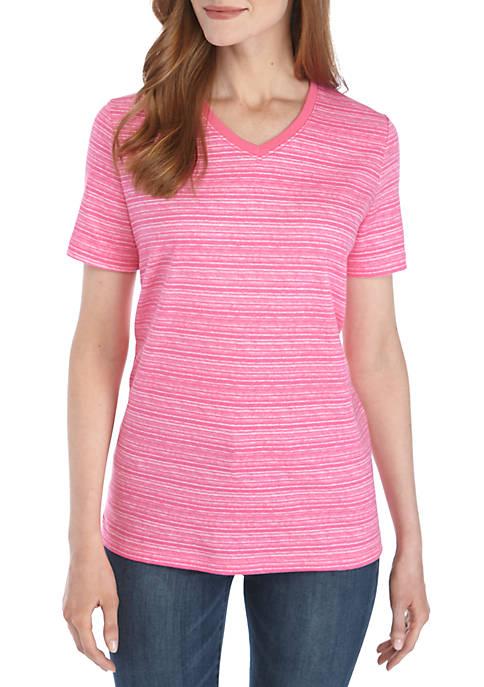 Kim Rogers® Short Sleeve V Neck Space Dye