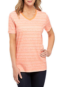 Kim Rogers® Short Sleeve V Neck Space Dye Top