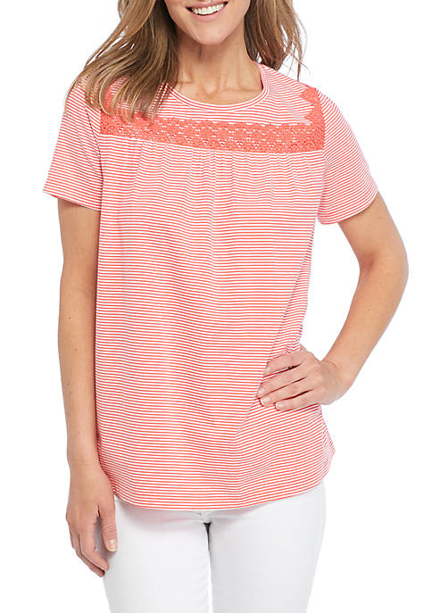 Kim Rogers® Short Sleeve Embroidered Swing Top