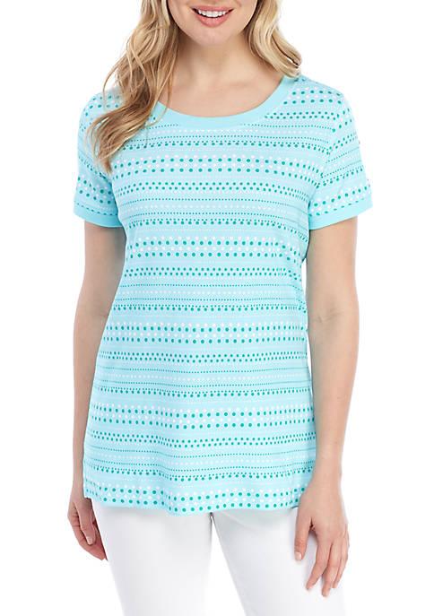 Kim Rogers® Button Sleeve Dot Print T Shirt